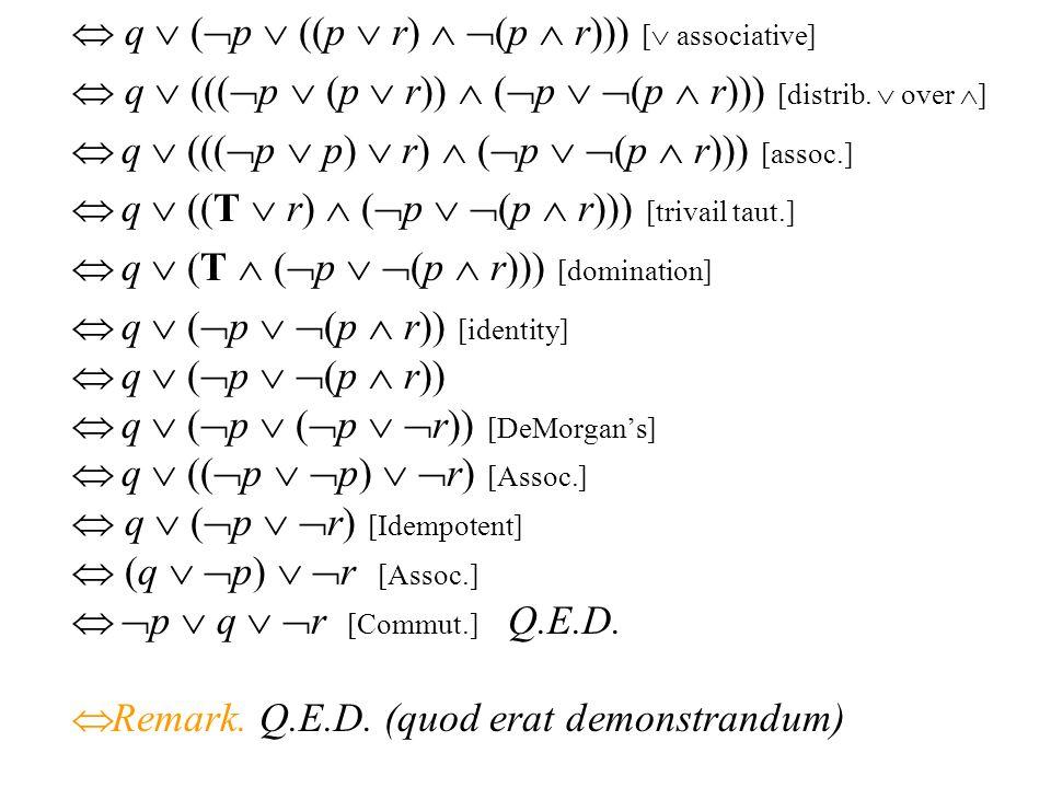  q  (p  ((p  r)  (p  r))) [ associative]